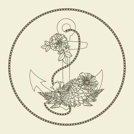 berth: Floral hand drawn anchor. Anchor digital stamp. Illustration