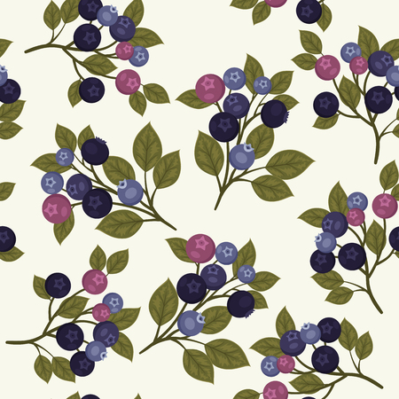 Seamless pattern with branches of blueberries and green leaves on light gray background