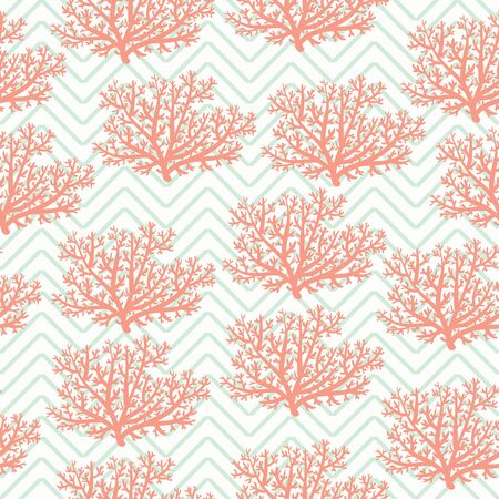 sea weed: Red corals seamless pattern on chevron background. Vector wallpaper