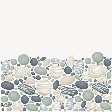 Vector achtergrond met zee / rivier / oceaan stenen. Onderste deel van de achtergrond stenen, bovengedeelte leeg.
