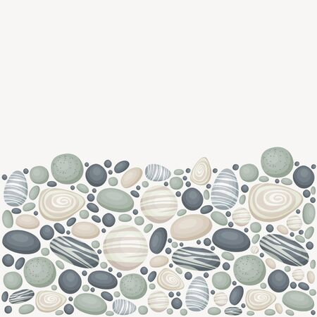 Vector background with sea/river/ocean stones. Lower part of the background is stones, upper part is blank.