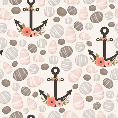 stones: Seamless pattern with seariverocean stones and floral anchors. Vector background.