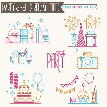 line art: Partybirthdaycelebration line art icons. Set of vector birthday icons.