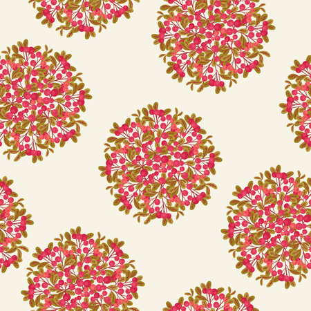 cranberries: Seamless pattern with bushes of red cranberries on light cream background Illustration