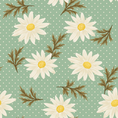 Seamless pattern with daisies and green leaves on vintage blue background. Vector daisy wallpaper.