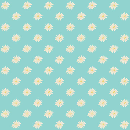 Seamless pattern with daisies on blue background. Vector daisy wallpaper.