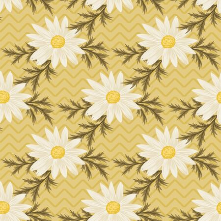 Seamless pattern with daisies and green leaves on yellow chevron background. Vector daisy wallpaper. Иллюстрация