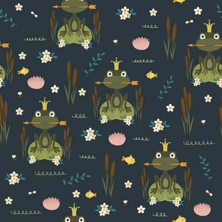 children's story: Princess frog holding an arrow. Seamless vector pattern Illustration