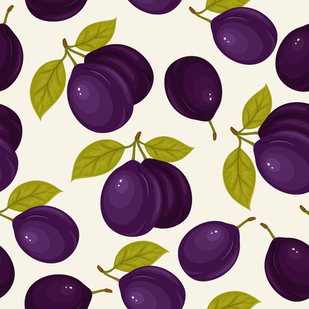 Seamless pattern with ripe plums and green leaves on white background. Vector background. Fresh fruits. Plum pattern. Plum vector.