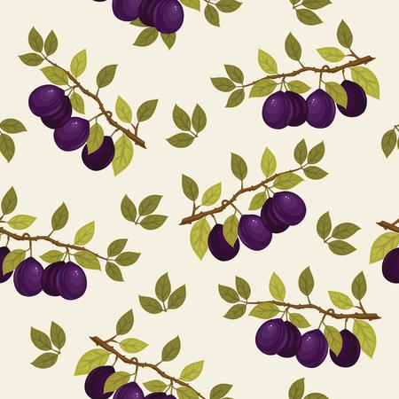 Nahtlose Muster mit reifen Pflaumen auf einem Zweig. Vektor-Hintergrund. Frische Früchte. Plum Muster. Plum Vektor.