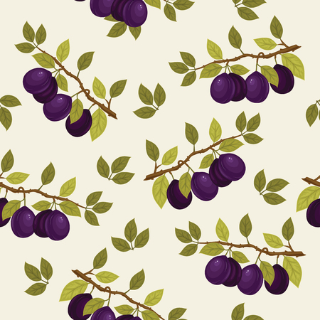 Seamless pattern with ripe plums on a branch. Vector background. Fresh fruits. Plum pattern. Plum vector.