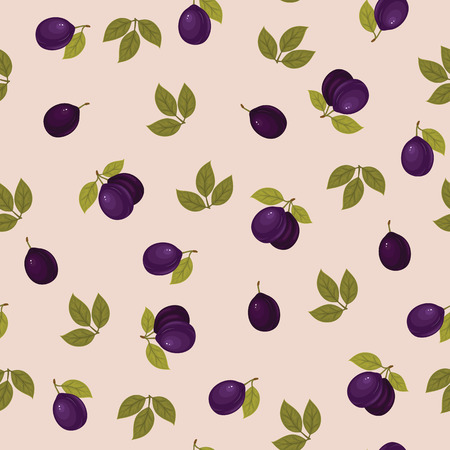 Seamless pattern with ripe plums and green leaves on pink background. Vector background. Fresh fruits. Plum pattern. Plum vector.