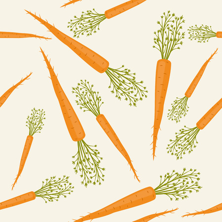 root vegetables: Seamless pattern with young carrots on light cream background Illustration