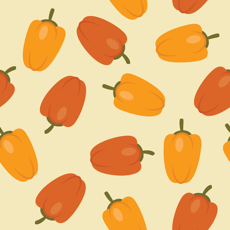 Seamless red and yellow peppers pattern. Vector illustration. Garden vegetables wallpaper. Иллюстрация