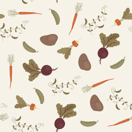 Seamless vegetables pattern. Vector illustration. Garden vegetables wallpaper.