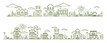 Real estate city buildings. Stock vector line art illustration