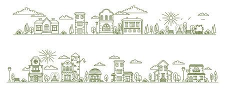 Real estate city buildings. Stock vector line art illustration