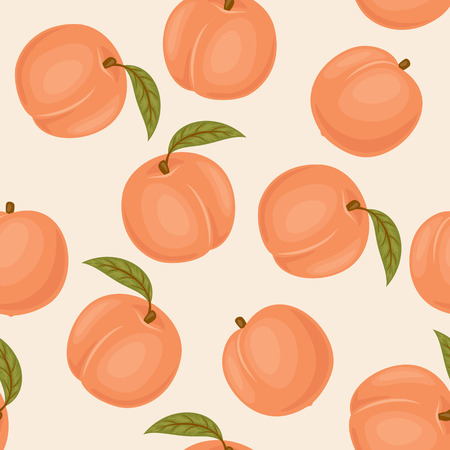 Peach seamless pattern. Peach vector wallpaper. Peaches with green leaves on light pink background