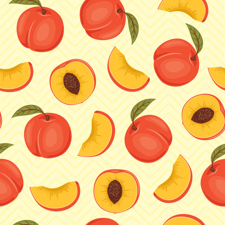 Peach seamless pattern. Peach vector wallpaper. Peaches with green leaves on light yellow background. Whole and slice peach fabric template.