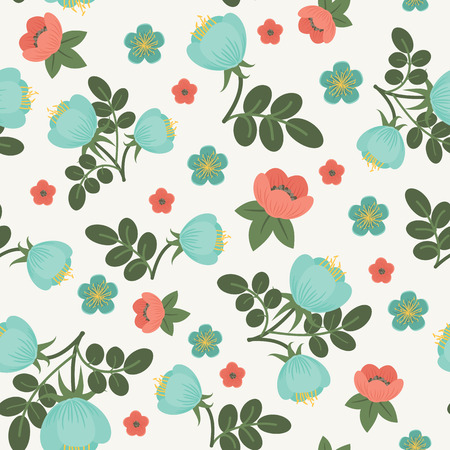 Reticolo senza giunte floreale. Fiori blu e rosso con foglie verdi. Vector carta da parati floreale. Floreale astratto.
