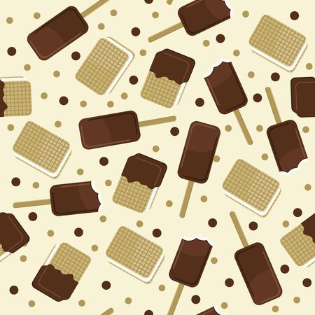 brown sugar: Ice cream popsicle and waffles seamless pattern. Vector ice cream background.