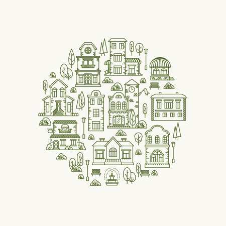 city lights: Real estate city buildings. Stock vector line art illustration