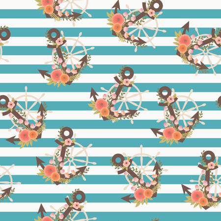 Floral anchor and steering wheel on striped background. Nautical seamless pattern. Marine life theme for surface design, wrapping paper, fabric printing