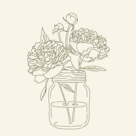 mason: Hand drawn peonies in mason jar. hand drawn illustration. Coloring page with peonies. Illustration