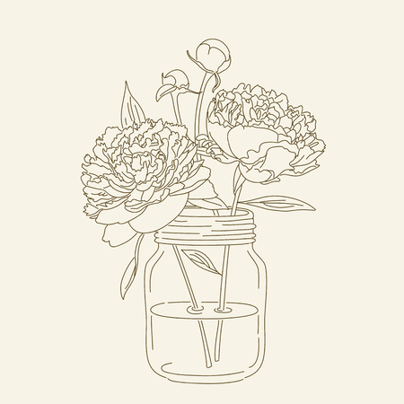 Hand drawn peonies in mason jar. hand drawn illustration. Coloring page with peonies. Vettoriali
