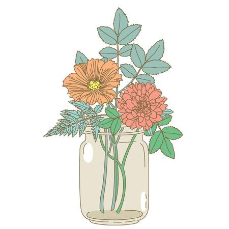 frasco: Flor dibujada a mano en el frasco de vidrio sobre fondo blanco. dibujado a mano ilustración.