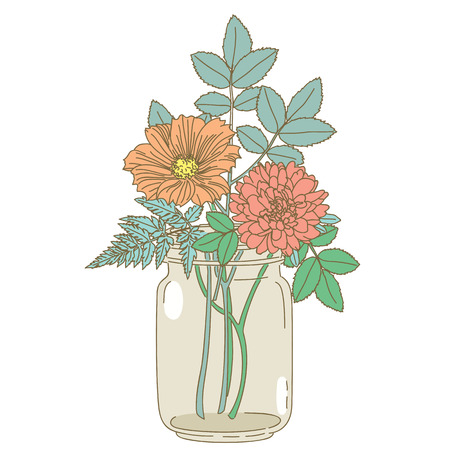 mason: Hand drawn flower in mason jar on white background. hand drawn illustration.