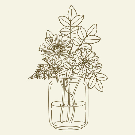 Hand drawn flowers in mason jar. hand drawn illustration. Coloring page
