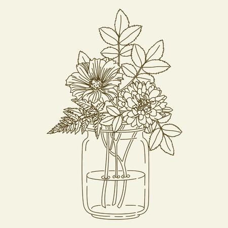 mason: Hand drawn flowers in mason jar. hand drawn illustration. Coloring page