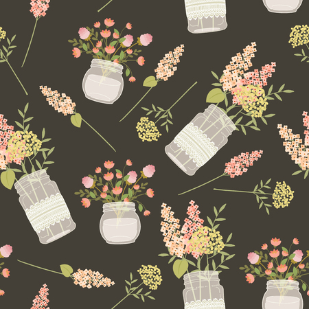 mason: Field flowers in mason jars. Seamless pattern. Vintage style template for fabric printing, wrapping paper, wallpaper, background, scrapbook sheets.