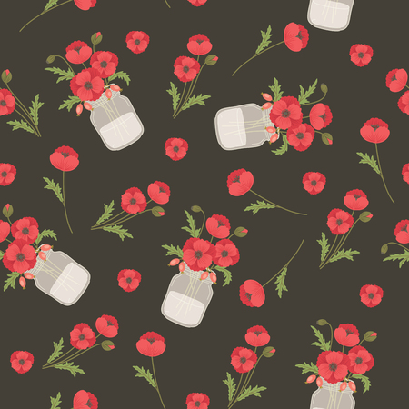 mason: Poppy flowers in mason jars. Seamless pattern. Vintage style template for fabric printing, wrapping paper, wallpaper, background, scrapbook sheets. Illustration