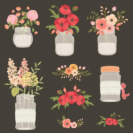 Flores en tarros de cristal. Dibujado a mano ilustración. flores de amapola, flores de campo y jardín. Añada elementos de diseño floral para la boda, día de madres, cumpleaños, invitaciones. Ilustración de vector