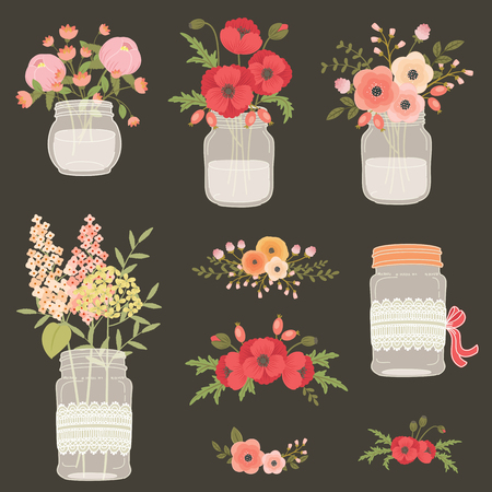 Flowers in mason jars. Hand drawn illustration. Poppy flowers, field and garden flowers. Vintage floral design elements for wedding, mothers day, birthday, invitations.