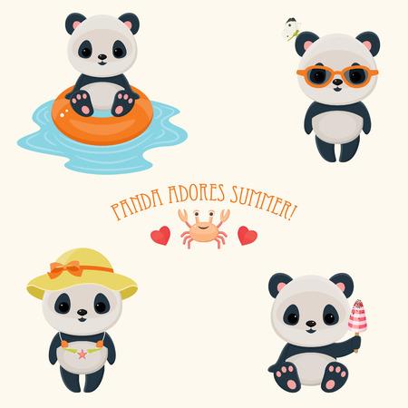 """Panda durante el verano iconos lindo web. oso asiático lindo. Los días calurosos de verano. Texto """"Panda adora verano""""."""