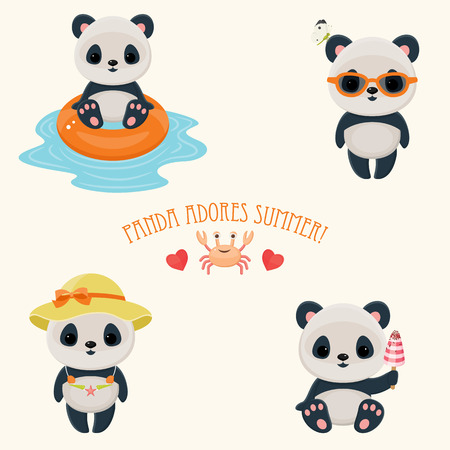 panda bear: Panda during summer time cute web icons. Cute asian bear. Hot summer days. Text Panda adores summer.