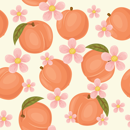 Peach seamless pattern. Peach wallpaper. Peaches with green leaves and blossom on light cream background
