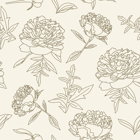 flower decoration: outlined peonies seamless pattern. Vintage floral wallpaper.