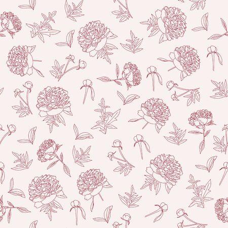 geschetst pioenen naadloos patroon. Uitstekend bloemenbehang.