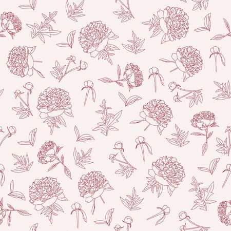 outlined peonies seamless pattern. Vintage floral wallpaper.