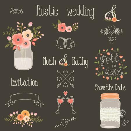 素朴な結婚式ピンクと桃の花のデザイン要素です。ヴィンテージ手描きクリップ アートのセットです。石工の jar ファイル、花、レタリング、バナ