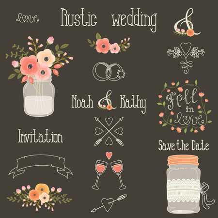 Rustic wedding design elements with pink and peach flowers. set of vintage hand drawn clip art. Mason jars, flowers, lettering, banner, dividers, and more