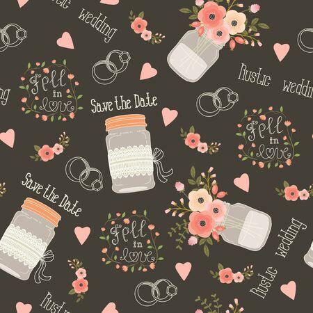 anillo de boda: boda rústica patrón transparente. Rosa y melocotón flores, tarros de cristal, flores, letras, anillos y letras