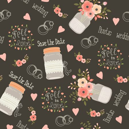 wedding: Rustic wedding seamless pattern. Pink and peach flowers, mason jars, flowers, lettering, rings and lettering