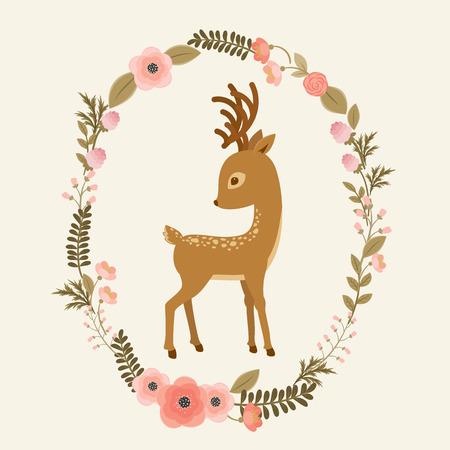 Kleine Rotwild in einem Blumenkranz. Fawn Cartoon-Vektor-Illustration. Elegante Karte Vorlage