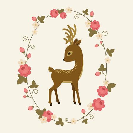 Little deer in a rose wreath. Fawn cartoon vector illustration. Elegant card template