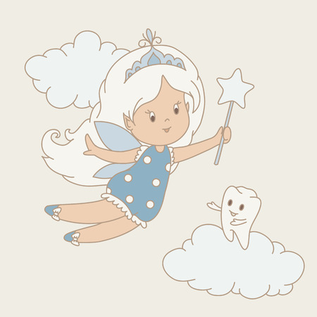 tooth fairy: Flying tooth fairy and tooth staying on a cloud. Hand drawn vector illustration.